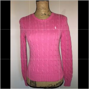 New Ralph Lauren Classic Pink Cable Knit Sweater